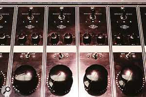 Early stereo mixing consoles such as Bill Putnam's Universal Audio 610, pictured here at Valentine studios, didn't offer continuous pan controls, just a switch to route signals to the left, right or both channels of the stereo bus.