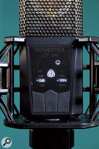 The various pad, filter and polar-pattern settings are accessed via this backlit menu system on the front of the mic.