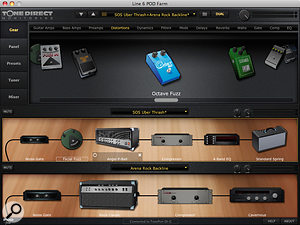 Pod Farm includes agood range of effects. You can select up to two to go before the preamp, and build more complex chains in the effectsloop.