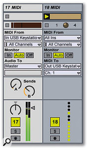 Track 17 contains a MIDI instrument. Note how its output is audio and therefore goes through a fader and pan pot, while track 18, which does not contain a MIDI instrument, sends its output to a USB hardware interface. Its panning and volume is handled via automation envelopes. Also note that track 17 has send controls.
