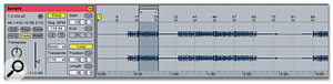 Here all of the drum tracks were selected and separated into individual Clips using the Edit menu's Split function. You can see the Start and End Markers of the Clip as flagged by the Software. The Loop had to be set manually, using the graphic Loop Braces in the Sample Display.