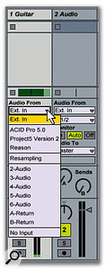The 'Audio From' drop-down menu lists a variety of possible signal inputs to the selected channel.