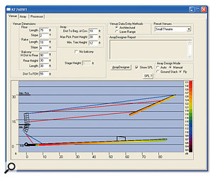 This EAW calculator superficially doesn't look as polished as the McCauley one, but it offers presets for different types of venue. This example shows a small theatre with a balcony, which is also covered by the line array. The software shows, by colour coding, the levels that can be achieved in different sections of the venue.