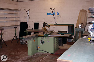 A cutting machine used on the boards that form the panels of the flightcases.