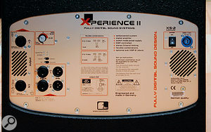 The subwoofer is the business end of the Xperience II system, containing a pair of 500W amplifiers and the DSP for EQ and limiting. The rear panel of the sub features all inputs and outputs, Powercon mains power inlet and power switch, ground-lift switch, and LEDs to show signal presence/clipping and whether speaker protection has kicked in.