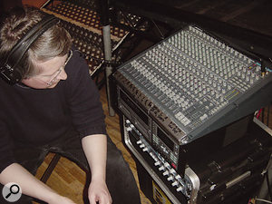 Hugh Robjohns with the Alesis 3204 mixer used during the recording.