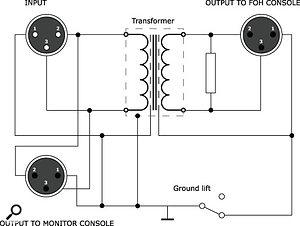 Schematic of a transformer mic splitter.