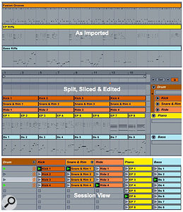 3: Three imported single-track MIDI files (top) are sliced and edited to capture four-bar drum clips along with two-bar electric piano and bass clips (centre). These clips are then used to create new Scenes in Session view (bottom).