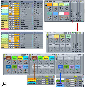 3: At the top is the W Thumb Bass Rack with its Macro knob assignments. In the middle, the effects have been grouped into a  separate Rack with the original Macro knob settings. At the bottom, the separate instrument and effects Racks are combined into a  single Rack.