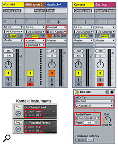 Screen 1: You can use two Live tracks (left) or one External Instrument track (right) to access instruments in Kontakt's Multi  Rack.