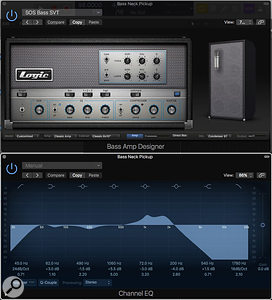 Screen 2: One way to achieve a larger bass sound is to turn up the distortion control in Logic's Amp Designer, and then use low-pass filtering in a Channel EQ to filter out the harsh top end.