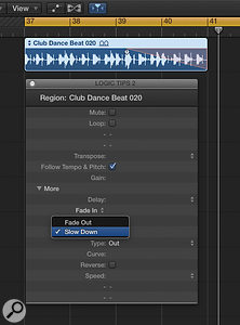 With the Fade Out option changed to Slow Down, the 'power failure' effect using the fade tool is a snap.