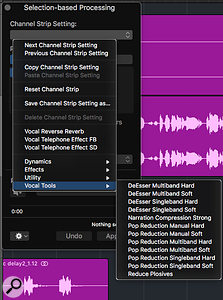 Screen 3: The Selection-based Processing window comes with a selection of useful presets perfect for rudimentary tasks such as de-essing or removing plosives from a vocal phrase.