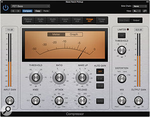 Screen 3: Logic's Vintage FET model is perfect for emulating the vibe of an 1176 compressor on a  bass.