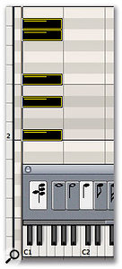 When the Chord button, located on the far left-hand corner of the Step Input Keyboard, is engaged, subsequent entries (made by clicking on the piano roll) are layered on top of each other at the current SPL position, creating chords.