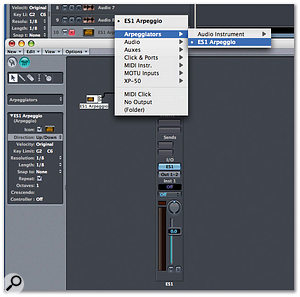 Like many of the Environment's powerful tools, the arpeggiator is often ovelooked. By creating a new Environment layer, inserting an Audio Object and an apreggiator module (both can be found in the 'New' menu), joining them up and renaming the layer, you create a new track source option in the Arrange page. From here, simply arm a new track in the Arrange page and play away! Remember: the song must be playing for the arpeggiator to function properly.