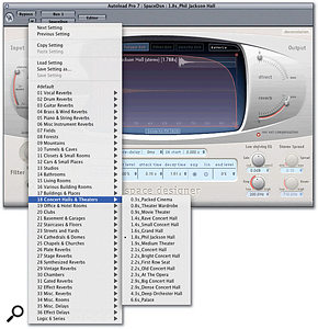 The Space Designer convolution reverb now includes an extensive new library of presets.