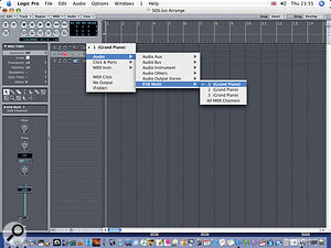 Once a multi-instrument is created, new options become available in the Arrange window's track list menu.