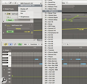 Selecting MIDI controller number 74 in Logic adjusts the filter‑one cutoff in Reason's SubTractor synth via ReWire.
