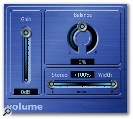 The Volume plug-in looks really simple but facilitates changes in the stereo width, volume and balance of the signal.