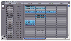 The Audio Configuration window shows all the audio objects available to your current Song. One extremely useful feature of this window is that you can copy and paste entire audio setups between different Songs — an invaluable time-saving measure if you're working on a number of Songs with the same instrumentation.
