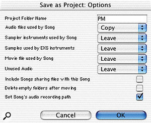 The Project Manager's Consolidate Files Of Selected Songs option allows you to move or copy some or all file types referenced in a Song to the same location as the Song file. That's useful for archiving or transporting a Song and all its files. The global File menu's Save Project As performs the same function on the current Song, and also uses the Project Manager database.
