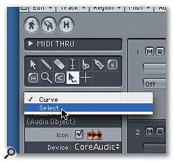 The Automation tool can operate in two different modes: Curve or Select. You can select the mode from the pull-down menu below the Arrange window's Toolbox.