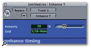 Pitch and timing correction are available in Logic Express, again thanks to Garage Band-style single-slider interfaces.