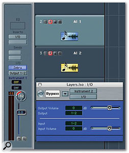 Two Audio Instrument tracks are record-enabled, and each one has a bypassed I/O plug-in inserted to ensure the virtual instrument remains permanently 'live'.