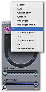 Double-clicking any of the channels' surround panners opens up a larger screen for more accurate control, and also allows you access to the LFE and Centre level faders. A drop-down menu at the top of the panner window lets you choose different output configurations.