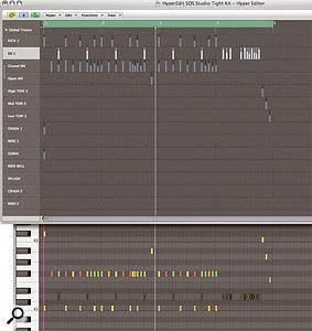 Logic's Hyper Editor (top) shows you far more information than the Piano Roll (bottom), so is very handy for programming drums. In the Hyper Editor, each drum is listed down the left-hand side, with event information displayed along the conventional timeline.