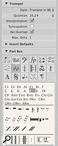 The Part box: (1) Click this tile of four flat symbols and all the key-signature options become available below for you to choose from. (2) In this case, I chose 'E'. (3) Multi-rests are a useful tool for space saving and neatening your part, as they will truncate any passage of empty bars into just one bar. (4) Double bars are a good way to separate out various sections in your piece, such as verses and choruses.