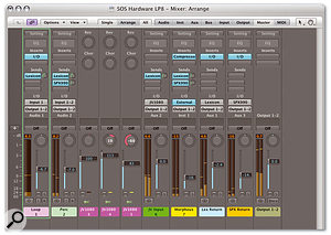 This screenshot shows hardware and software processors and instruments being used simultaneously inside a single Logic project. The two buses allow audio to be sent to two separate hardware effects units, while their inputs are channelled back into Logic's mixer. Audio from hardware synths that are being triggered via MIDI inside Logic is also being routed back in.