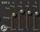 Different amplifier envelope settings can be used to produce a wide variety of sound shapes from the same initial tone. The two amp-envelope snapshots above correspond to the percussive bass drum (left) and slowly evolving pad (right) sounds.