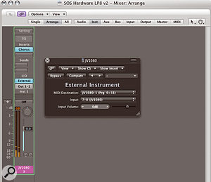 Hardware synths can be handled in Logic using the External Instrument plug-in on an instrument object. The graphical user interface enables you to select the appropriate MIDI destination and the audio input the signal comes back in on.