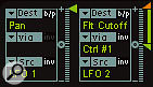 Left: Notice how not entering a selection for the Via field in the furthest EXS24 modulation matrix path maintains a single arrow for a constant value of modulation. Selecting a Via field (in this case Ctrl 1) splits the arrow in half, so you can determine the extent of alteration that occurs when the controller is moved.