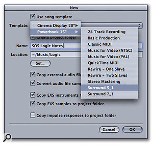 By choosing the Surround 5.1 template, you cause Logic to create a pretty comprehensive set of audio and instrument tracks (all with surround sound panners) specifically for laptop or larger screens.