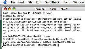 Apple's Terminal utility lets you check whether your Ethernet setup is working properly.