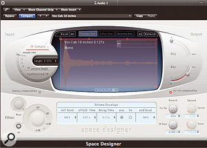 Space Designer running a setting created from a custom impulse response of a Vox guitar cab.