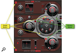 It's vital to understand these power and routing buttons. Osc 1 is switched on, but not routed through the filter. Osc 2 is routed through the filter, and then into the distortion section.