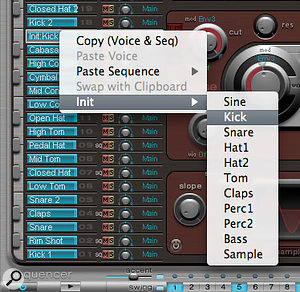 Control or right clicking in the Assignment area opens this Voice 'Init' contextual menu. Note the range of initial voice settings available. These can be a good starting point for creating your own sounds.