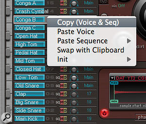 Copy and paste options for voice and sequence data.
