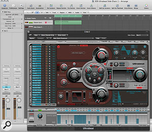 Using side-chaining in Ultrabeat. The output of a synth pad from the ES1 channel is routed to bus 4, and aux 1 is 'listening' to that bus. The output from aux 1 is turned off, effectively sending the pad sound 'nowhere', so that you won't hear it directly. In Ultrabeat, Osc 1 is set to a side-chain input, and the plug-in side-chain input is set to bus 4 (the pad sound). When Logic is running, the pad will be gated and filtered by Ultrabeat.