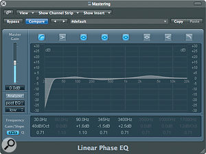 An example of a 'mastering EQ' curve applied using Linear Phase EQ.