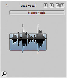 When Flex Mode is on, the track header displays the Flex Mode menu. Here it's set to Monophonic.