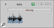 The Q‑reference button in the track header. Activating this for a track turns it into a Q‑Reference track for quantising other tracks in the group.