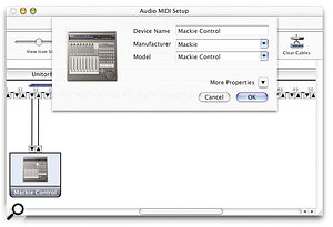 In order for some applications to see Mackie Control on OS X, such as MOTU's DP4, you may need to create a virtual representation of how Mackie Control is connected to your MIDI Interface using OS X's Audio MIDI Setup utility.