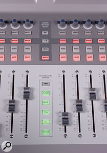 A set of six buttons between the two main banks of faders select areas of the console's operation for automation purposes, making mixing a very hands-on process.