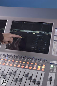 Although you can control surround panning from the assignable rotary controls, it's easier to just drag the surround panner around on the touchscreen.
