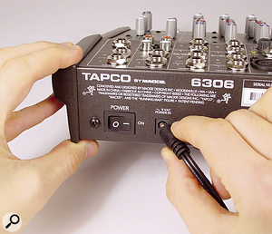Power to the 6306 is provided via an external power adaptor, unlike on Mackie's other compact mixers.